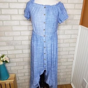 Esley Chambray Style Button Down Maxi Flowy Dress